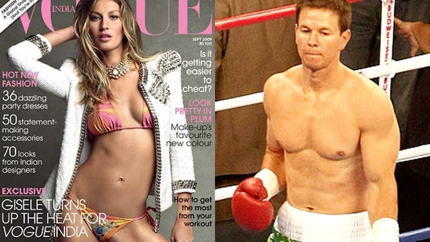 Gisele Bundchen and Mark Wahlberg have 2010's most desired celeb bodies. (Vogue/Paramount)