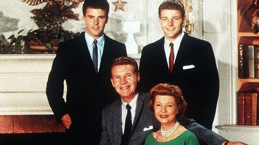 This undated file photo shows the Nelson Family, Ozzie and Harriet with sons Ricky, left, and David, in their television home.