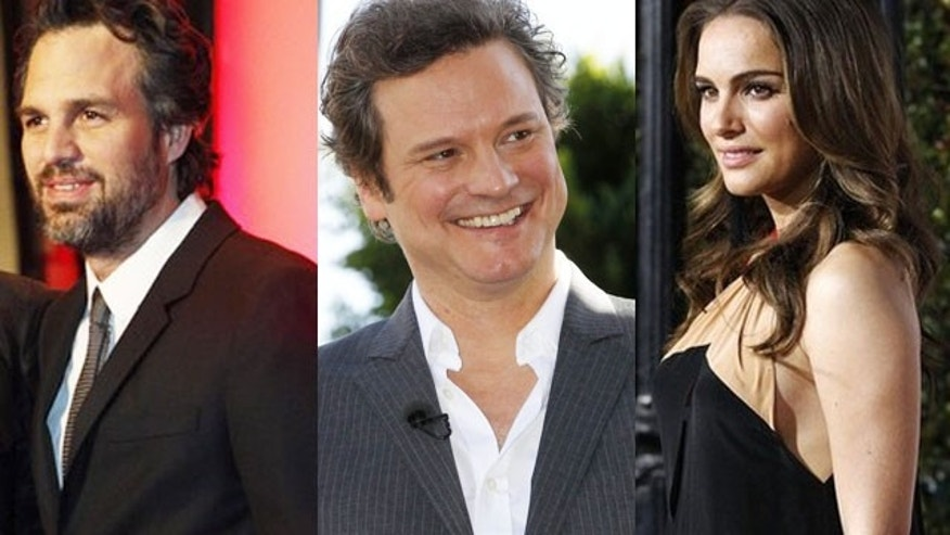 Mark Ruffalo, Colin Firth and Natalie Portman. (Reuters)