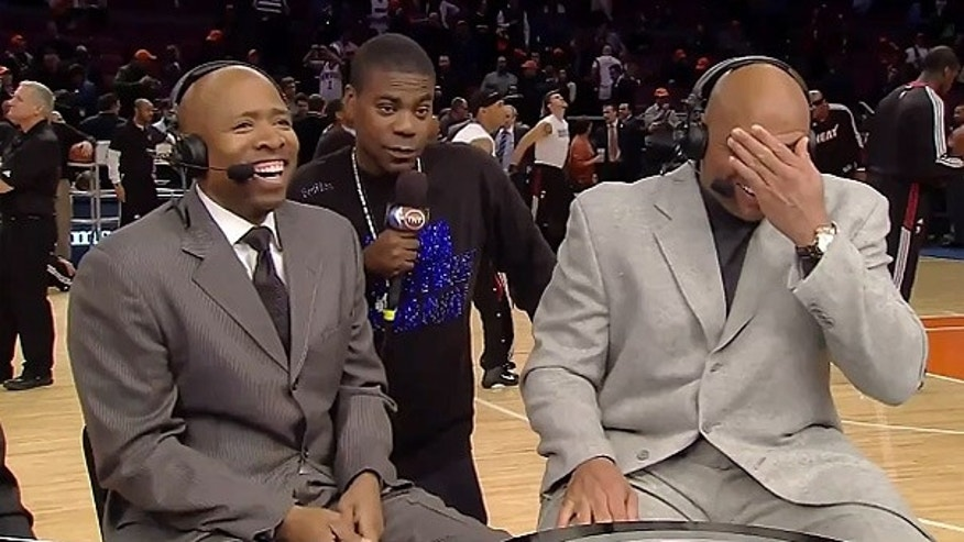 Jan. 27: Comedian Tracy Morgan, center, discusses Sarah Palin with Charles Barkley, right, and Kenny Smith, during an 'Inside the NBA' live broadcast on TNT.