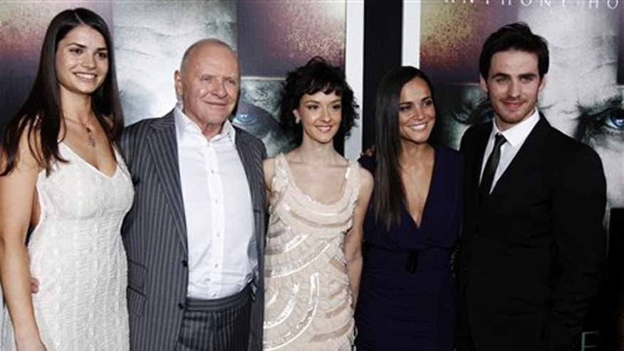 "Jan. 26, 2011: From left, cast members Marija Karan, Anthony Hopkins, Marta Gastini, Alice Braga, and Colin O'Donoghue pose together at the premiere of ""The Rite"" in Los Angeles."