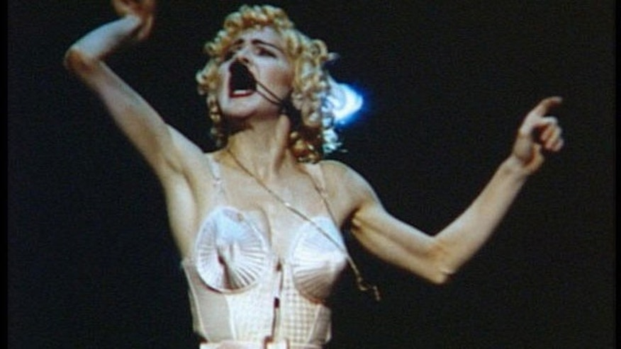 "1990: An image from Madonna's ""Blonde Ambition"" tour."