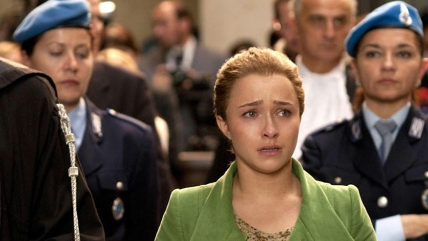 In this undated handout photo, actress Hayden Panettiere portrays US student Amanda Knox in the made for TV film about the murder of British student, Meredith Kercher. (AP)