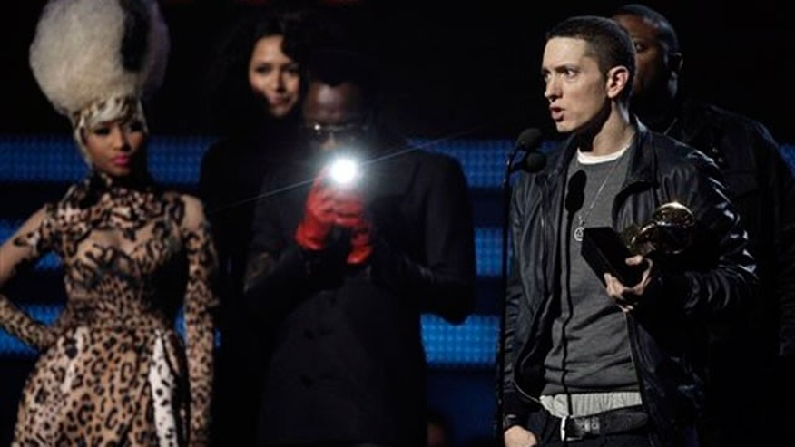 Feb. 13: Eminem accepts one of his two Grammy Awards. (AP)