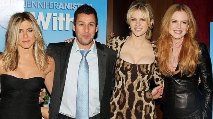 "Feb. 8, 2011: In this photo released by Starpix, Jennifer Aniston, left; Adam Sandler, center left; Brooklyn Decker, center right; and Nicole Kidman, stop for a photo at a special screening of their film ""Just Go With It."""