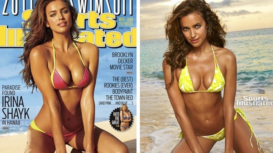From left, the cover of the magazine's 2011 Swimsuit Edition featuring Irina Shayk pictured in Hawaii and the model in the Philippines