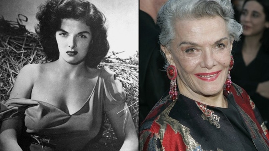 "Jane Russell, film star of the 1940s and 1950s, is seen at left in ""The Outlaw"" and at right in 2005."
