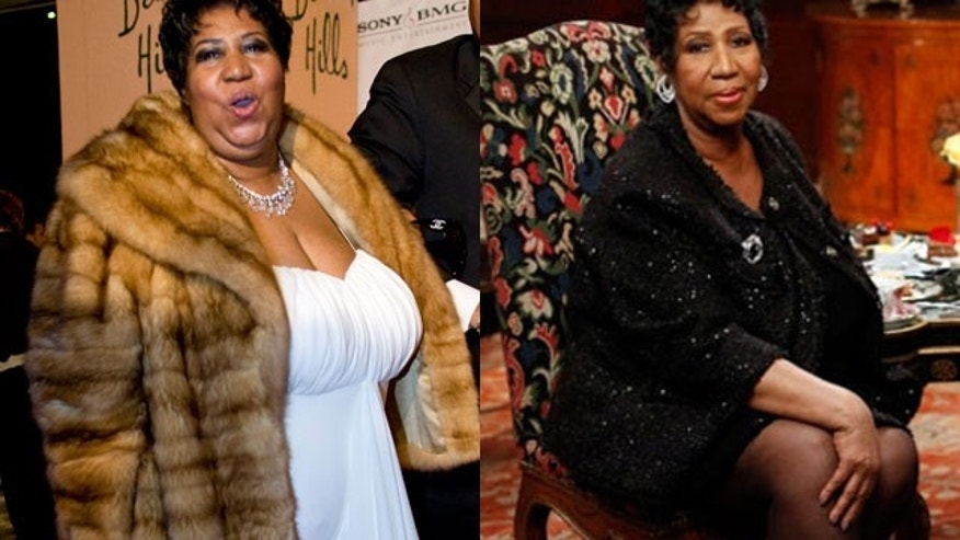 Aretha Franklin (left) in 2008 and Aretha Franklin in yesterday's appearance on 'Wendy Williams' (Reuters/AP)