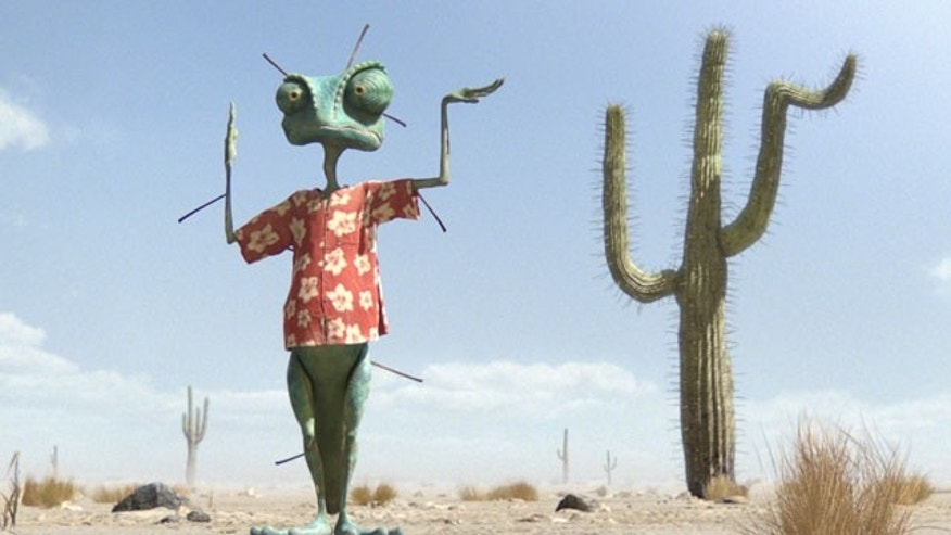 "In this film publicity image released by Paramount Pictures, Rango, left, voiced by Johnny Depp, is shown in a scene from the animated feature, ""Rango."""