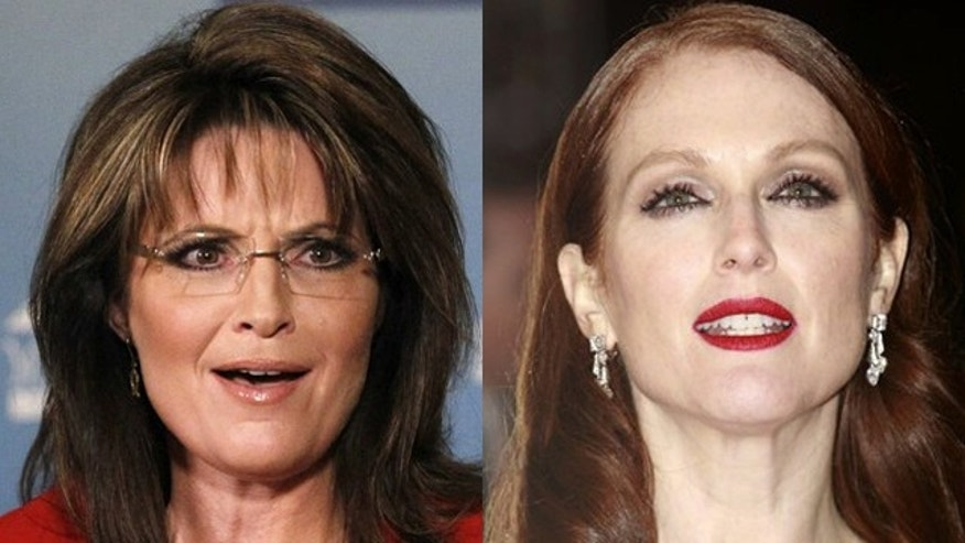 Sarah Palin, left, will be played by actress Julianne Moore in an upcoming movie