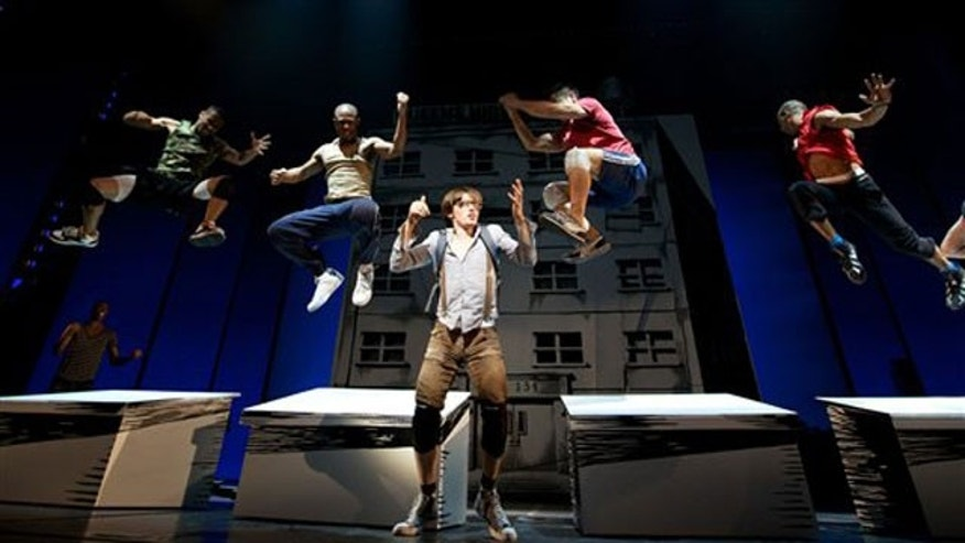 In this publicity image from 'Spider -Man: Turn Off the Dark' the cast is seen performing. (AP)