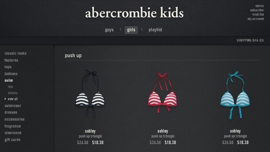 The Abercrobie & Fitch Kids website selling the Ashley Push Up Triangle bra. (abercrombiekids.com)