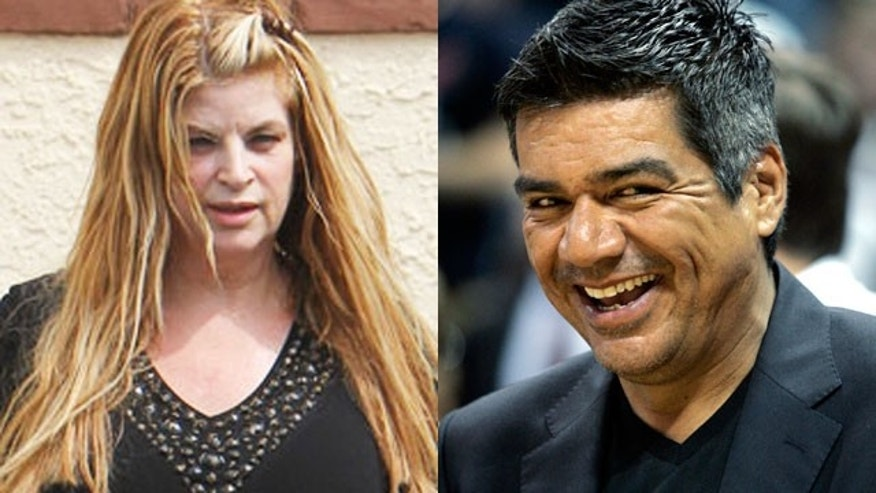 Kirstie Alley (L) fired back at comedian George Lopez's jokes about her weight (X17/Reuters).
