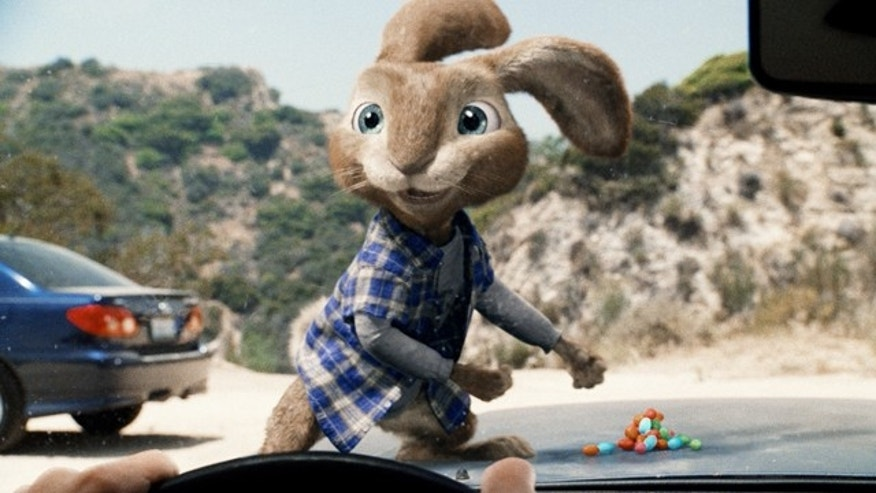 "March 25, 2011: In this film publicity image released by Universal Pictures, E.B., the teenage son of the Easter Bunny, voiced by Russell Brand, is shown in a scene from ""Hop."""