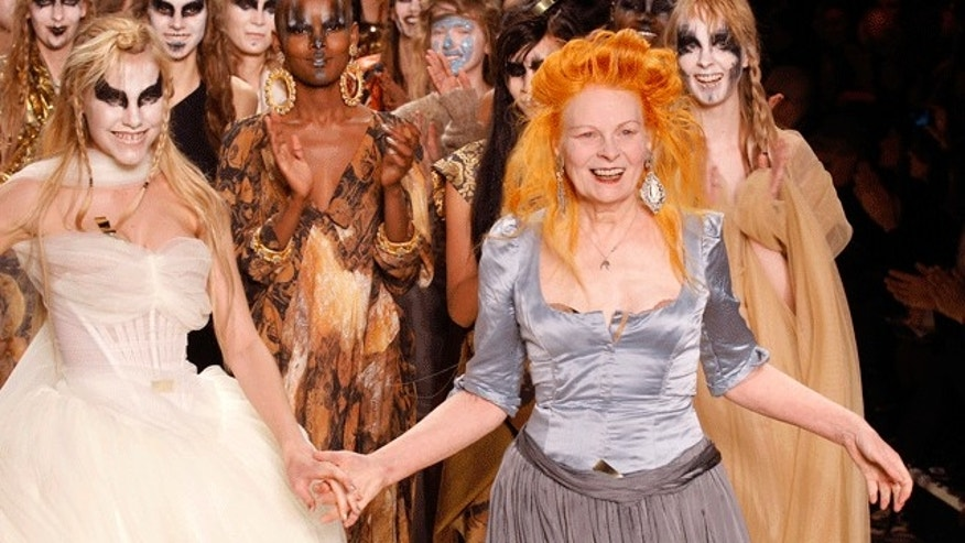 Vivienne Westwood (right) on the catwalk in 2011. (Reuters)