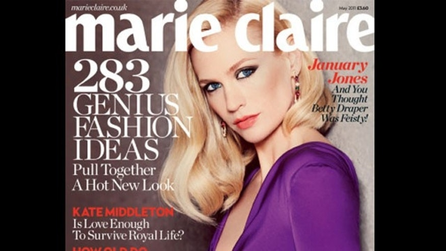 January Jones on the May cover of Marie Claire UK.