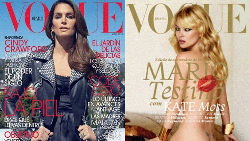 Cindy Crawford and Kate Moss on the May 2011 covers of international editions of Vogue. (Vogue)