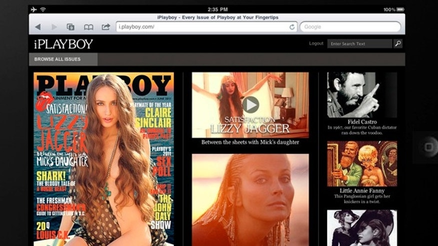 May 18: This publicity image provided by Playboy Enterprises, Inc., shows a sample of the member home page for the web site, i.playboy.com, as viewed on a tablet device for the web-based subscription service.