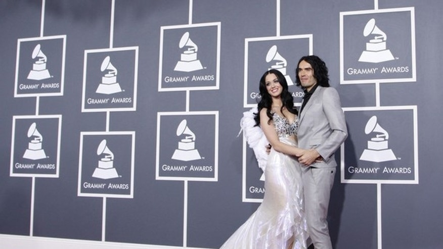 Feb. 13, 2011: Singer Katy Perry and husband British actor Russell Brand arrive at the 53rd annual Grammy Awards in Los Angeles.