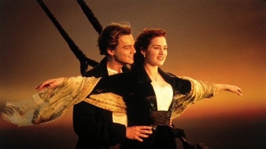 FILE - In this image released by Paramount Home Entertainment, Kate Winslet and Leonardo DiCaprio are shown in a scene from 'Titanic.' (AP)