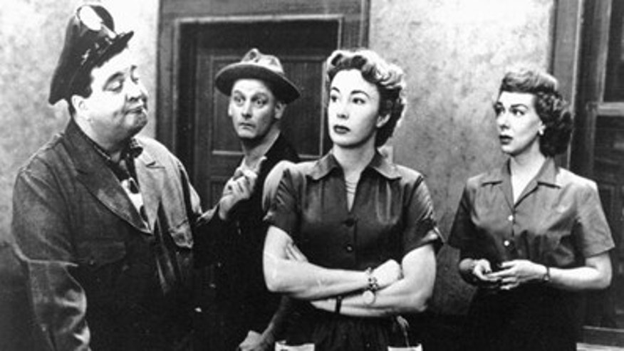 "The cast of ""The Honeymooners"", a show written by Leonard Stern, from left to right: Jackie Gleason, Art Carney, Audrey Meadows and Joyce Randolph. (AP)"