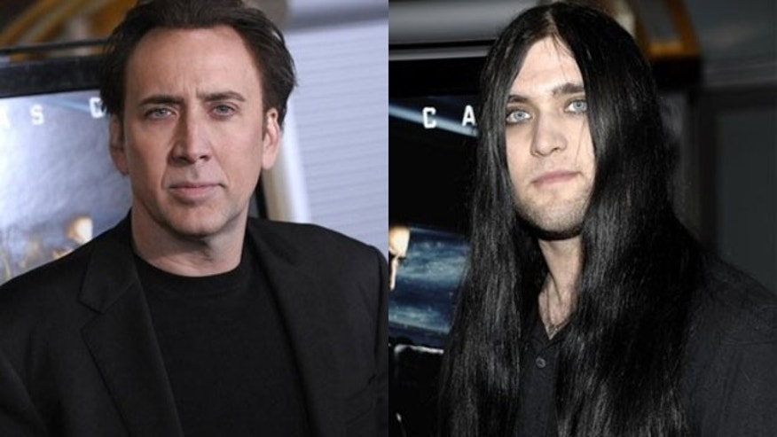 Nicolas Cage and his son Weston Cage (right) (AP)