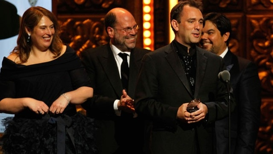 "June 12: Trey Parker, right, and producers accept the Best Musical award for ""The Book of Mormon"" during the 65th annual Tony Awards. (AP)"