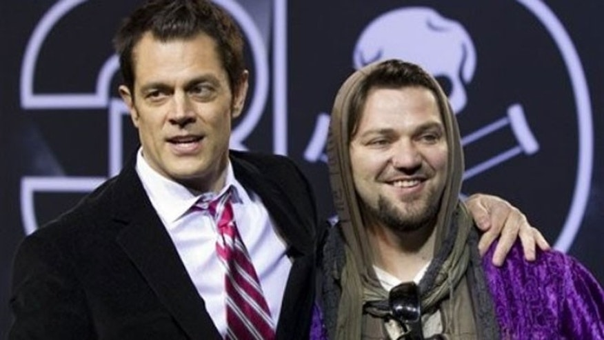 Oct 20: Johnny Knoxville and Bam Margera at the premiere of 'Jackass 3D' (AP)
