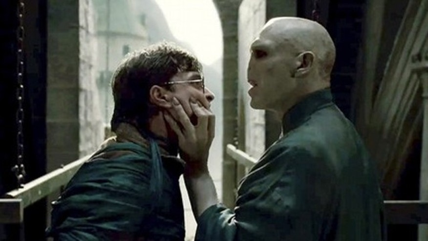 "Actors Daniel Radcliffe and Ralph Fiennes are shown in a scene from the film ""Harry Potter and the Deathly Hallows Part 2"" in this undated publicity photo."