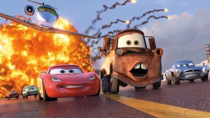 "In this file film publicity image released by Disney-Pixar, animated characters Lightning McQueen, voiced by Owen Wilson, foreground left, Mater, voiced by Larry the Cable Guy, center, and Finn McMissile, voiced by Michael Caine, right, are shown in a scene from ""Cars 2."" ""Cars 2"" cruised to a No. 1 finish with a $68 million opening weekend, according to studio estimates Sunday, June 26, 2011. That makes 12 wins in a row for Pixar since 1995s Toy Story."