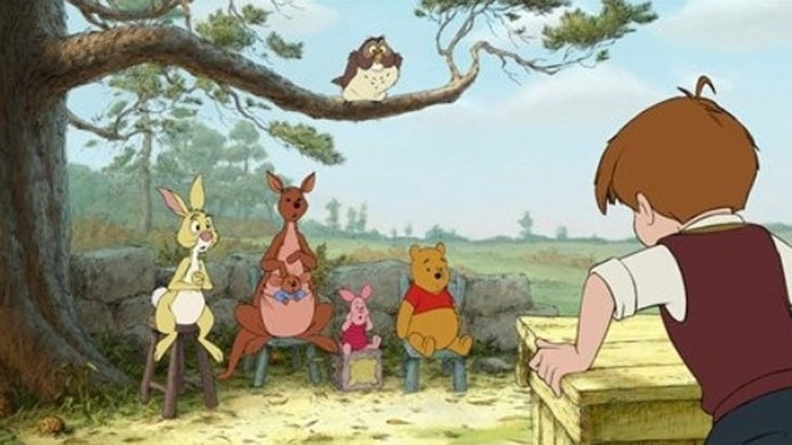 """In this publicity image released by Disney, characters from left,  Rabbit, Kanga, Roo, Piglet, Owl, Winnie the Pooh, and Christopher Robin are shown in a scene from """"Winnie the Pooh."""""""