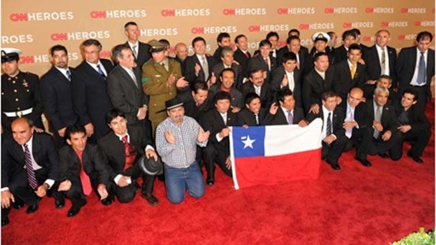 Nov. 20, 2010: The Chilean miners and rescuers arrive at the 2010 CNN Heroes: An All-Star Tribute held at The Shrine Auditorium in Los Angeles, Calif.