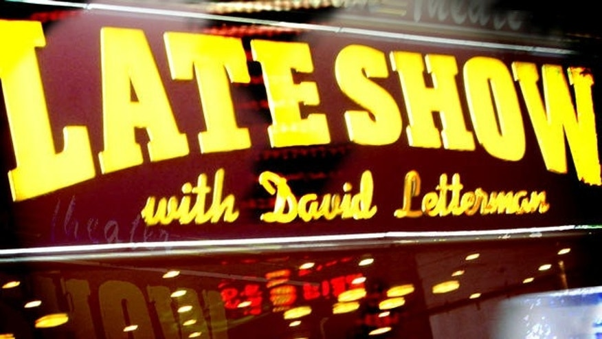 "The ""Late Show with David Letterman"" marquee at the Ed Sullivan Theater (AP)"