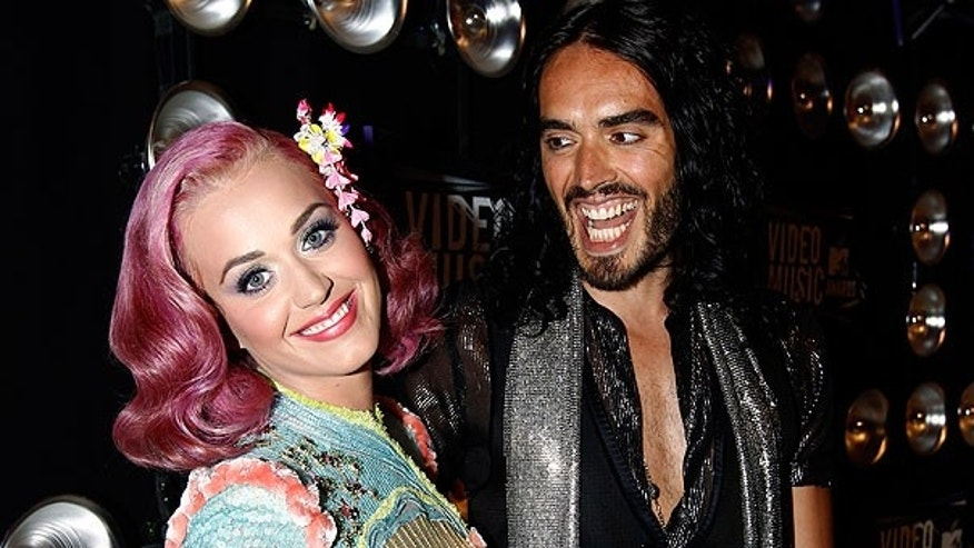 Aug. 28: Katy Perry, left, and Russell Brand arrive at the MTV Video Music Awards in Los Angeles.