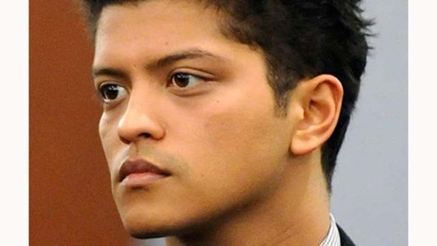 February 4, 2011: Recording artist Bruno Mars appears at the Clark County Regional Justice Center to waive his preliminary hearing on felony drug possession charges in Las Vegas, Nev. Mars, whose legal name is Peter Hernández, was arrested last September at the Hard Rock Hotel & Casino for possession of cocaine.