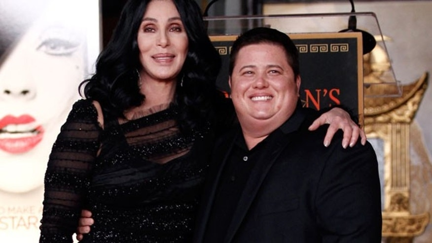 Chaz Bono (right) poses with his mother, Cher (AP)