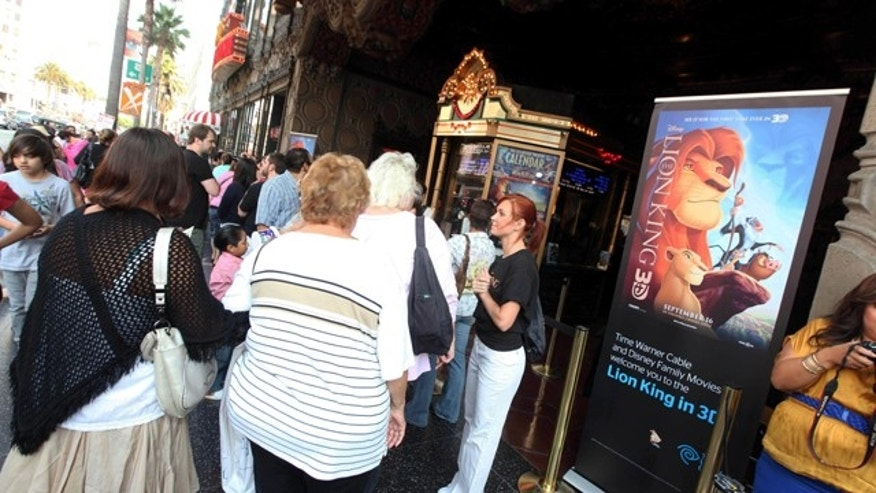 "Sept. 17: In this photo provided by Time Warner Cable, guests gather outside before a Time Warner Cable and Disney screening of ""The Lion King"" 3D at The El Capitan Theatre, in Los Angeles. Walt Disney's ""The Lion King"" reissue was No. 1 for the second-straight weekend with $22.1 million, according to studio estimates."