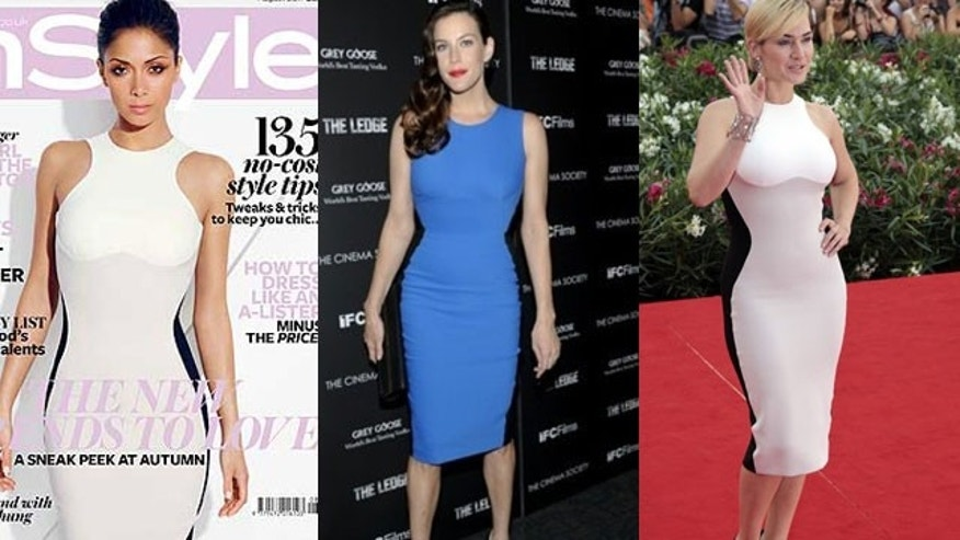 Nicole Scherzinger, Liv Tyler and Kate Winslet in the Stella McCartney dress stylists are calling the 'Miracle Dress' (InStyle/AP)
