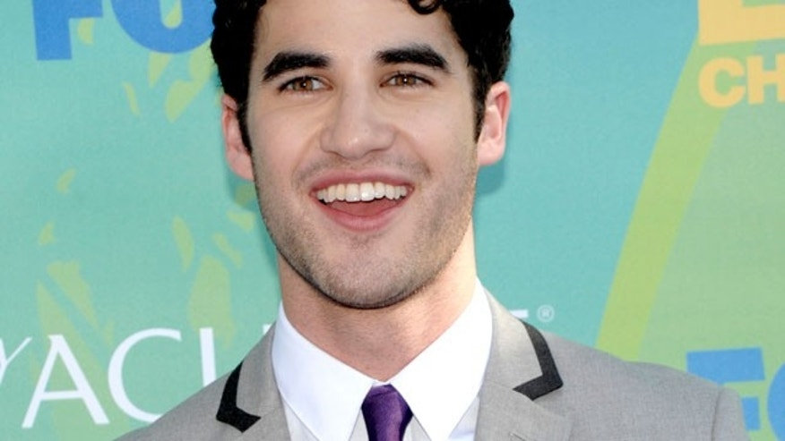"In a Sunday, Aug. 7, 2011 file photo, Darren Criss, cast member on Fox's ""Glee"", arrives at the Teen Choice Awards in Universal City, Calif. The 16th annual ""Where We Are on TV"" report released Wednesday, Sept. 28, 2011 by the Gay & Lesbian Alliance Against Defamation (GLAAD) found that 2.9 percent of actors appearing regularly on prime-time network drama and comedy series in the 2011-12 season will portray gay, lesbian or bisexual characters. (AP)"