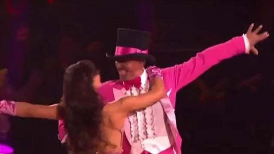 Oct. 10, 2011: J.R. Martinez and Karina Smirnoff dance the foxtrot to the classic Pink Panther tune Monday night on DWTS.