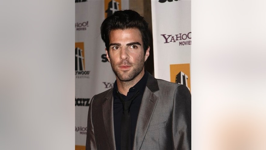 Zachary Quinto arrives at the 13th Annual Hollywood Awards Gala on Monday, Oct. 26, 2009, in Beverly Hills, Calif. (AP Photo/Matt Sayles)