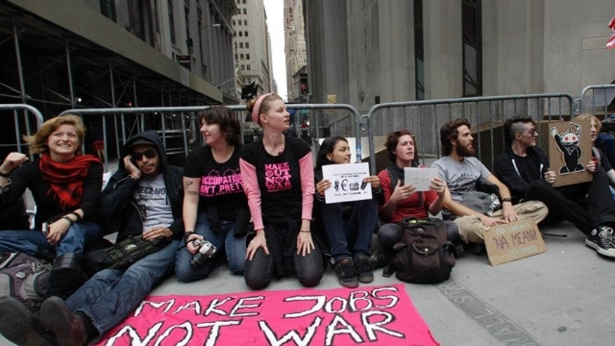 Sept. 17: Demonstrators affiliated with the Occupy Wall Street movement gather to call for the occupation of Wall Street in New York. (AP)