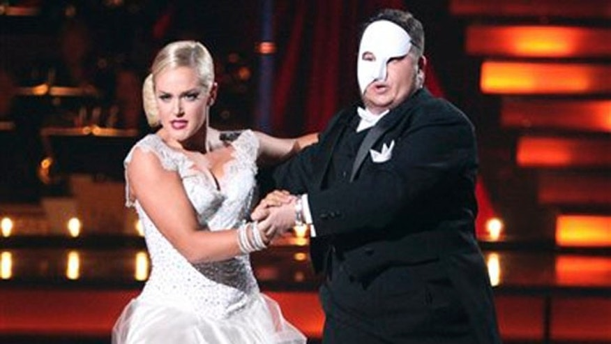 "In this Oct. 24, 2011 image released by ABC, Chaz Bono, right, and his partner Lacey Schwimmer perform on the dancing competition series ""Dancing with the Stars,"" in Los Angeles."