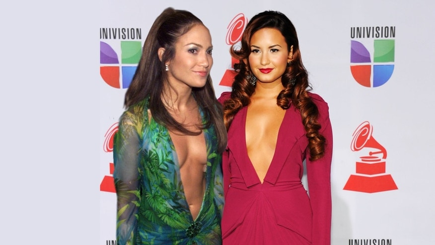A photo montage of Demi Lovato's plunging neckline at the Latin GRAMMYs Nov. 10, 2011 resembles Jennifer Lopez plunging neckline at the GRAMMYs on Feb. 23, 2000.