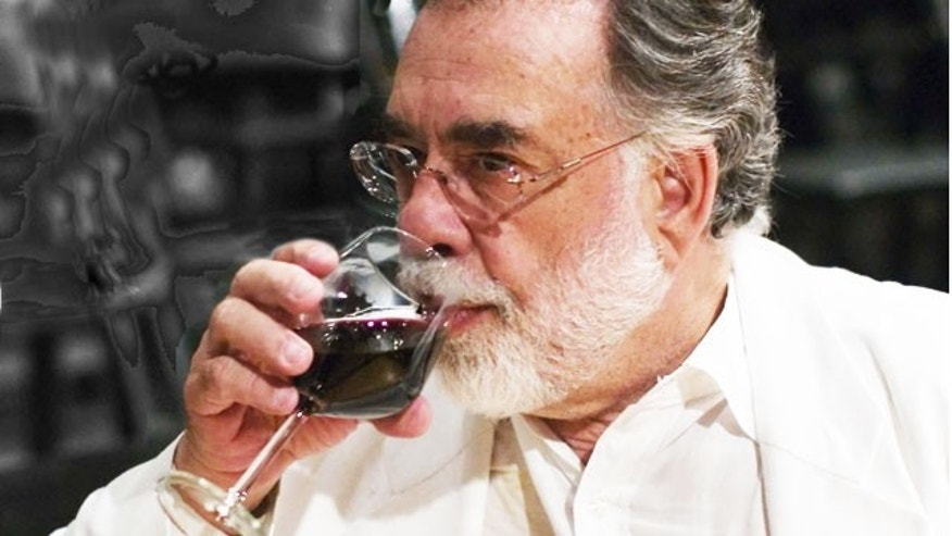 Mr. Coppola enjoying some wine from his  Geyserville, California vineyard