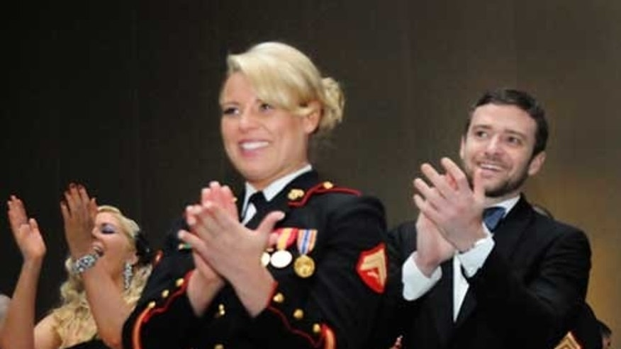 Justin Timberlake attends Marine Corp Ball with Cpl. Kelsey De Santis.