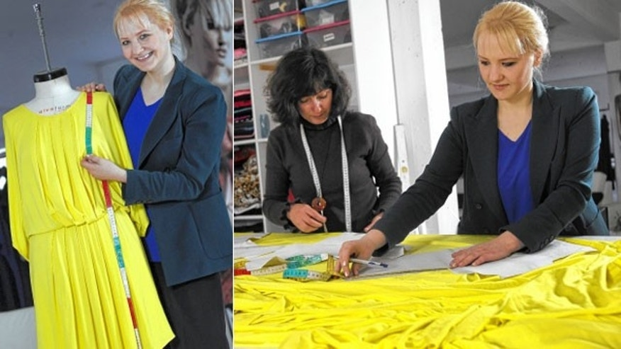 Designer Anke Domaske (left and right) and seamstress Tatjana Berthold (center) work at their studio in Hannover, Germany.
