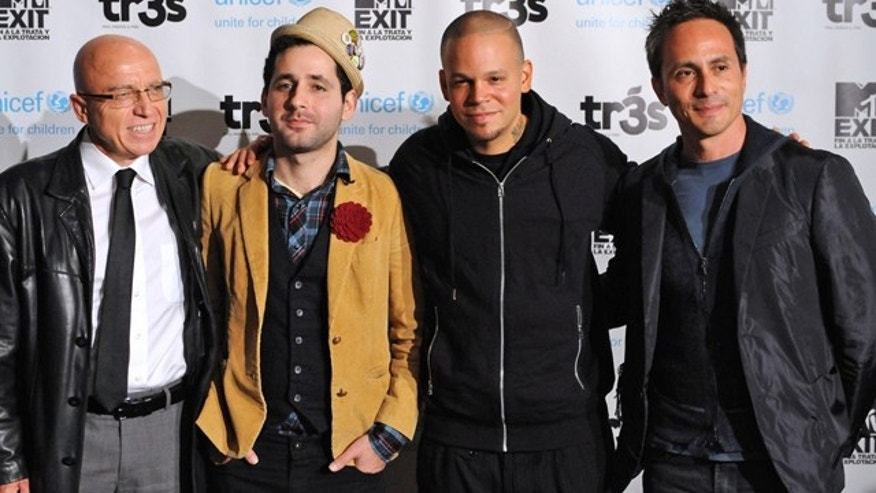 Nov. 21, 2011: (From left to right) Bernt Aasen of Unicef, Calle 13's Residente yand Visitante and Mario Cader-Frech from MTV Tr3s.