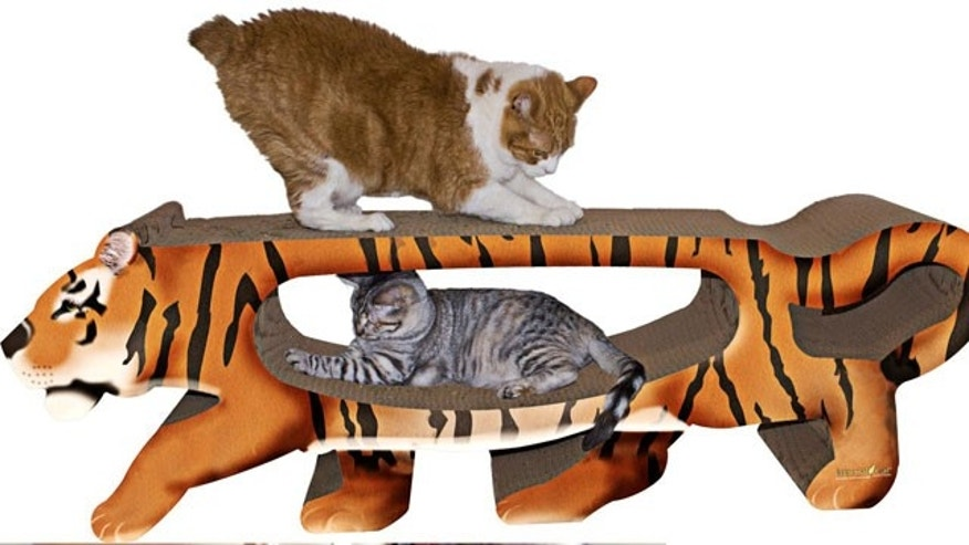 Give your kitty plenty of room to scratch with the tiger cat scratcher from Pampered Pets.