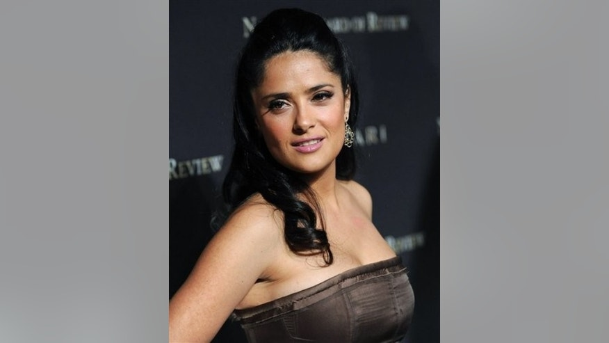 FILE - In this Jan. 14, 2009 file photo, actress Salma Hayek attends the 2008 National Board of Review of Motion Pictures awards gala in New York. (AP Photo/Evan Agostini, file)